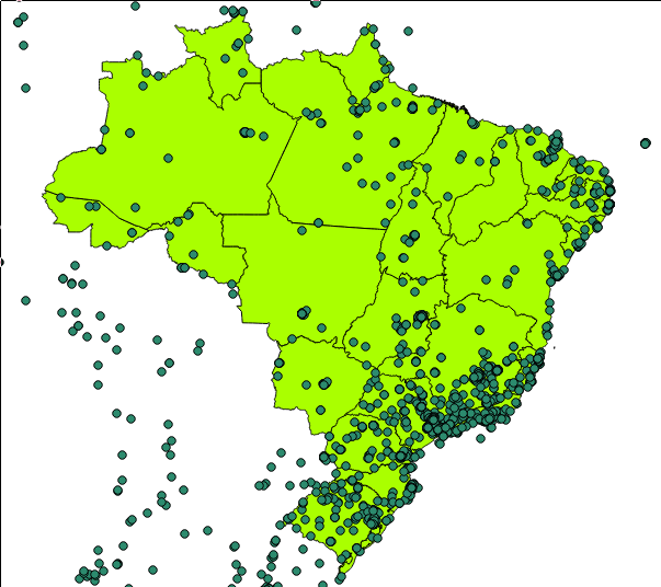 Visualization of geolocated wikipedia articles in portuguese